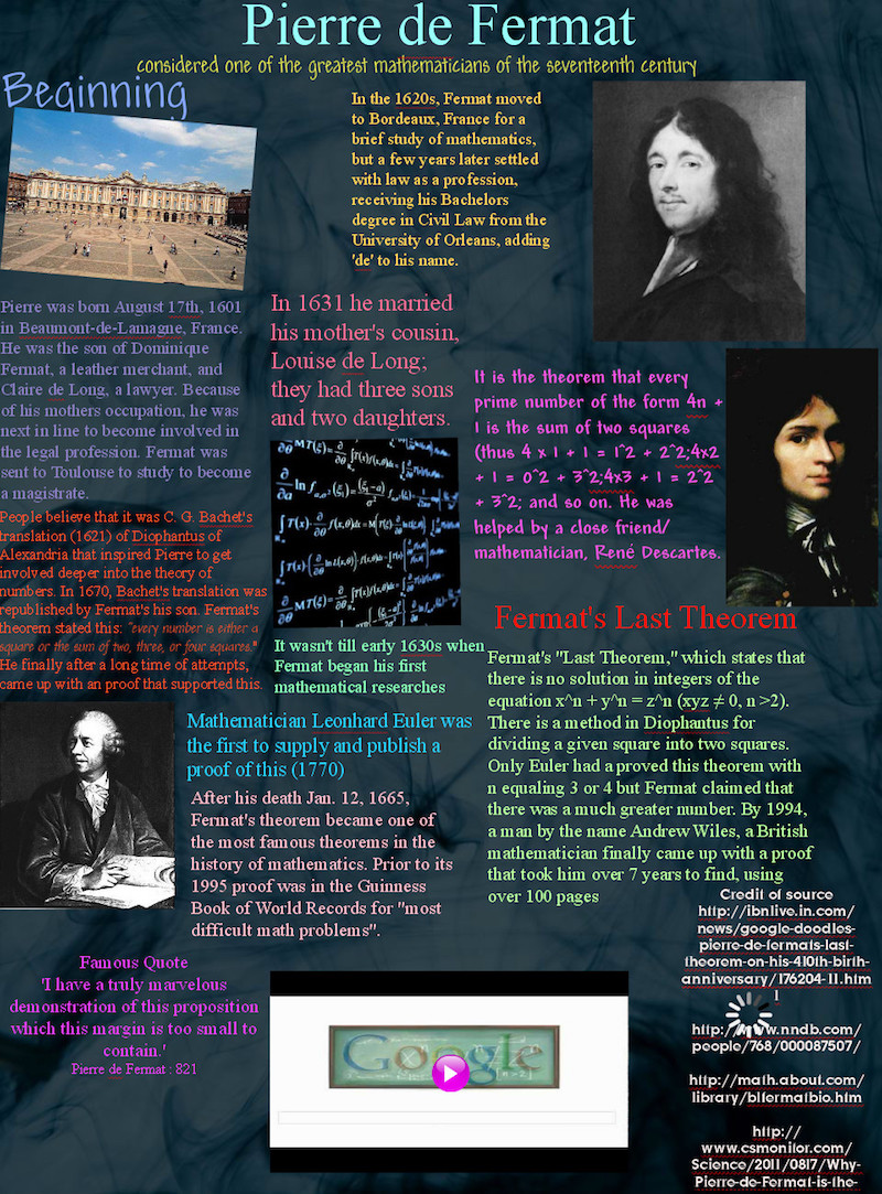 the life and times of pierre fermat Pierre de fermat was born in 1601 in south-west france  in his spare time he  studied mathematics, a hobby which would earn him a place in history  i knew  that moment that the course of my life was changing because.